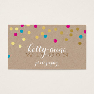 CONFETTI GLAMOROUS cute gold foil pink aqua kraft Business Card