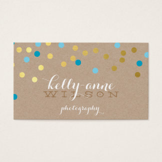 CONFETTI GLAMOROUS cute gold turquoise blue kraft Business Card