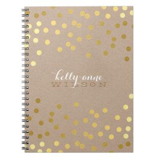 CONFETTI GLAMOROUS cute spot gold crafty kraft Note Books