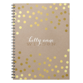 CONFETTI GLAMOROUS cute spot gold crafty kraft Notebooks