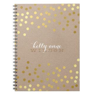 CONFETTI GLAMOROUS cute spot gold crafty kraft Spiral Note Book