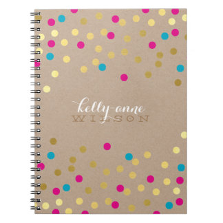 CONFETTI GLAMOROUS cute spot gold pink aqua kraft Notebook