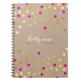 CONFETTI GLAMOROUS cute spot gold pink kraft Notebooks