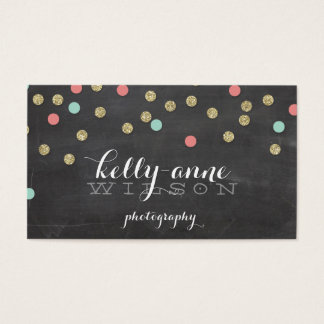 CONFETTI GLITTER cute gold coral mint chalkboard Business Card