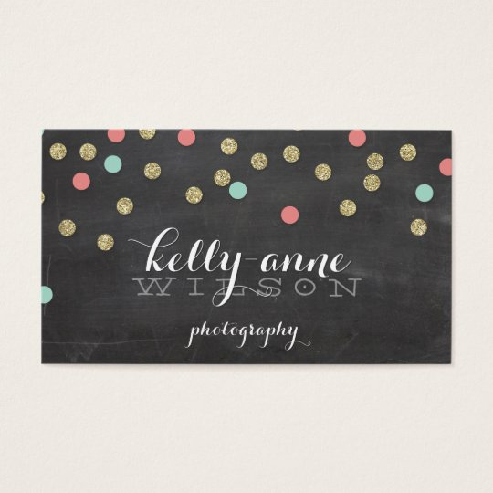 CONFETTI GLITTER cute gold coral mint chalkboard Business
