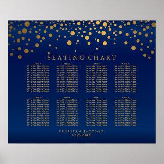 Confetti Gold Dots & Navy Blue Satin Seating Chart
