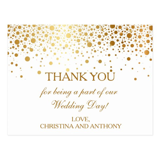 Confetti Gold Dots Wedding Thank You Note Postcard