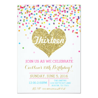 Confetti Gold Glitter Birthday Invitation