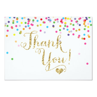 Confetti Gold Glitter Thank You Card