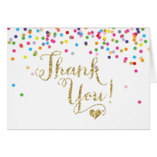 Confetti Gold Glitter Thank You Note Card Folded