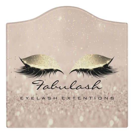 Confetti Gold Pink Glitter Salon Lashes Makeup Door Sign