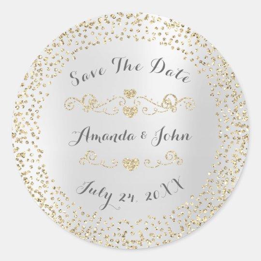Confetti Golden Glitter Save the Date Silver Gray