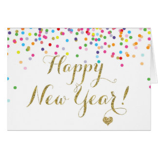 Confetti Happy New Year Note Card Half Fold