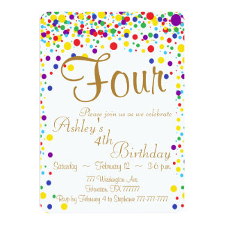 Confetti invitation, rainbow invitation, party card