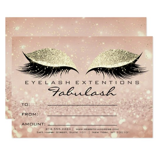 Confetti Lashes Gold Blush Makeup Certificate Gift Card