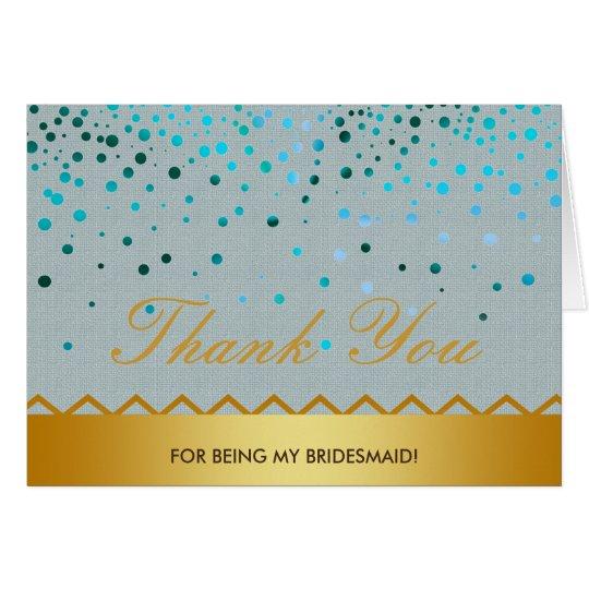 Confetti Linen Gold Glitter Bridesmaid Thank You Card