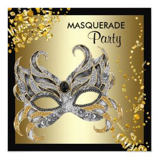 Confetti Mask Black Gold Masquerade Party 13 Cm X 13 Cm Square Invitation Card