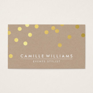 CONFETTI modern cute dot pattern gold foil kraft Business Card