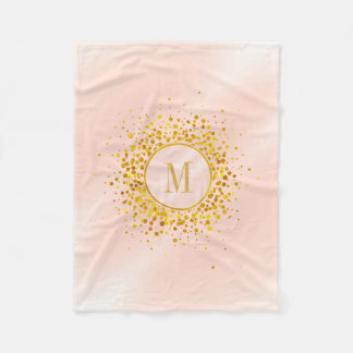 Confetti Monogram Rose Gold Foil ID445 Fleece Blanket