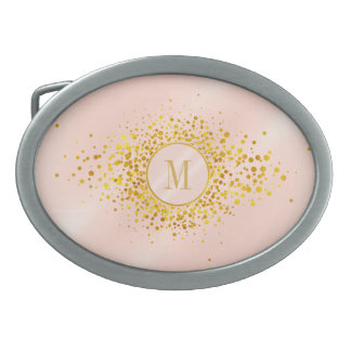 Confetti Monogram Rose Gold Foil ID445 Oval Belt Buckles
