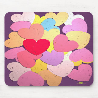 Confetti of hearts mouse pads