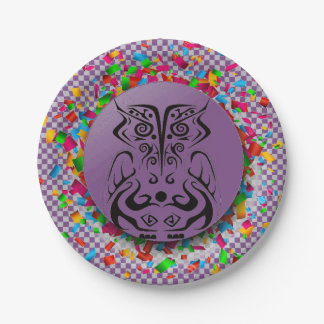CONFETTI OWL TATTOO PRINT PAPER PARTY PLATE