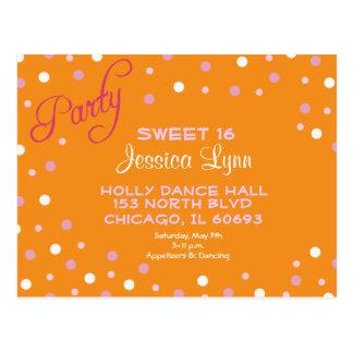 Confetti Party Invitation - Orange/Fuscia Postcard
