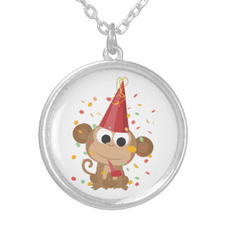 Confetti Party Monkey Personalized Necklace