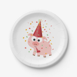 Confetti Party Pig 7 Inch Paper Plate