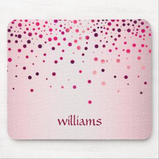 Confetti Pink Linen Glitter Girly Dots Mouse Mat