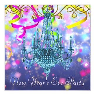 Confetti Purple Teal Blue Chandelier New Years Eve 13 Cm X 13 Cm Square Invitation Card