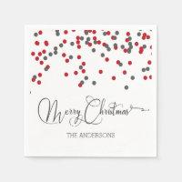 Confetti red & gray Merry Christmas napkins