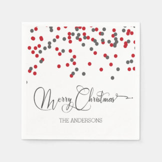 Confetti red & gray Merry Christmas napkins Disposable Serviette
