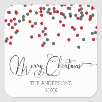 Confetti red & gray Merry Christmas Stickers