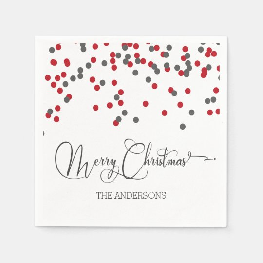 Confetti red & grey Merry Christmas napkins Disposable
