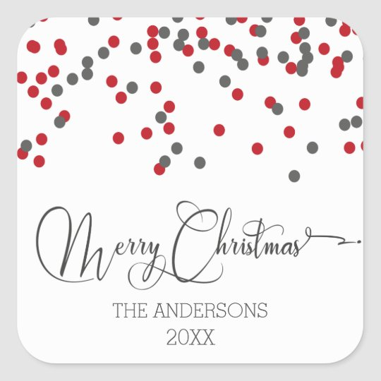Confetti red & grey Merry Christmas Stickers