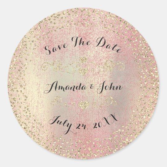 Confetti Rose Gold Glitter Save the Date Peach