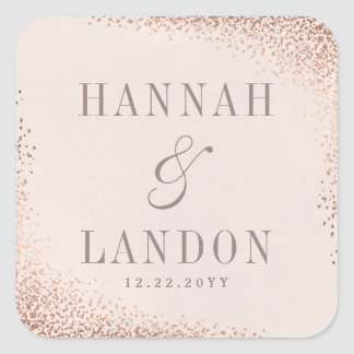 Confetti shimmer couples wedding sticker faux foil