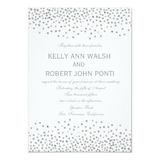 Confetti Silver Dots Elegant Wedding Invitation