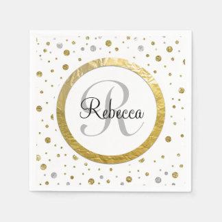 Confetti Silver/Gold Monogram Disposable Napkin