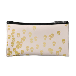 Confetti Skulls - champagne and gold Makeup Bag