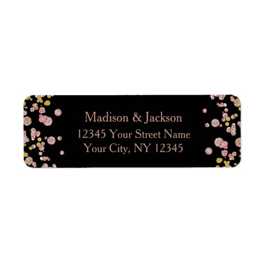 Confetti Sparkle Rose Gold Wedding Return Address