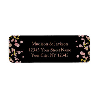 Confetti Sparkle Rose Gold Wedding Return Address Return Address Label