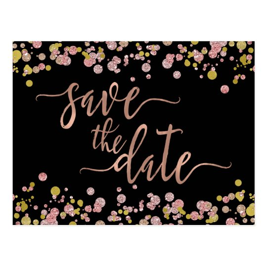 Confetti Sparkle Rose Gold Wedding Save the Date