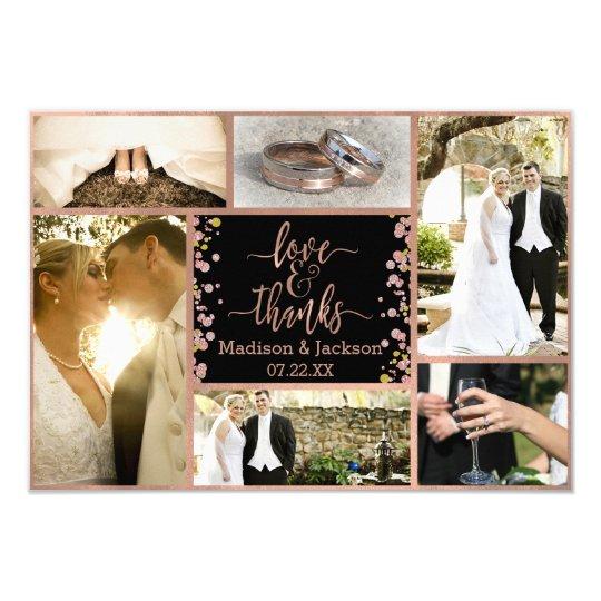 Confetti Sparkle Rose Gold Wedding Thank You Photo