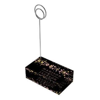 Confetti Sparkle Shine Rose Gold Wedding Monogram Table Card Holder