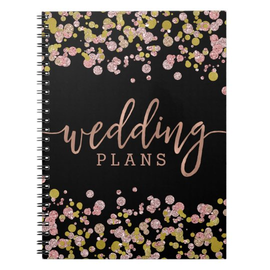 Confetti Sparkle Shine Rose Gold Wedding Planner Notebook