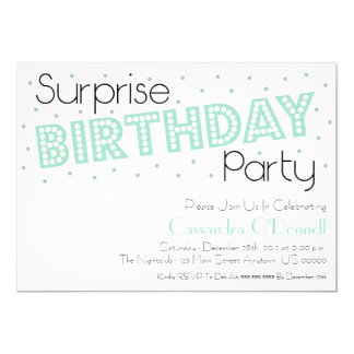 Confetti Surprise Birthday Party Invites (Mint)