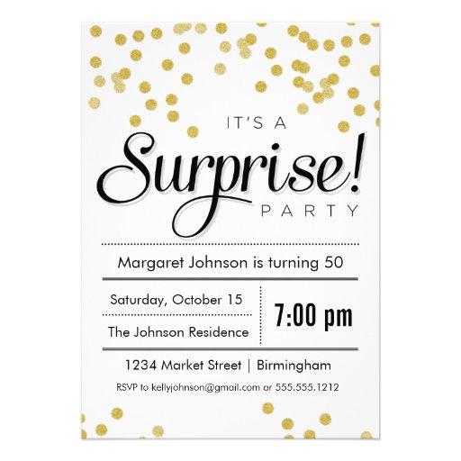 Confetti Surprise Party Invitation