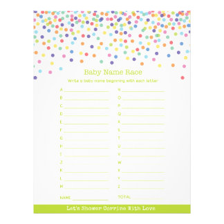 Confetti Theme Baby Shower Game 21.5 Cm X 28 Cm Flyer
